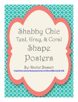 Shabby Chic (Teal, Gray & Coral) Shape Posters
