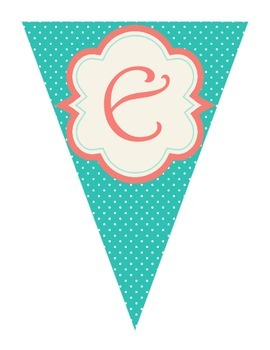 Shabby Chic (Teal, Gray & Coral) Spelling Banner