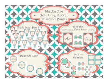 Shabby Chic (Teal, Gray & Coral) Themed Classroom Superpack