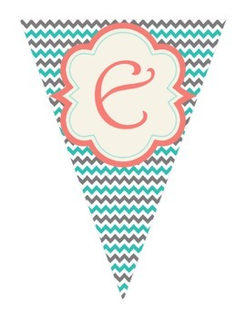 Shabby Chic (Teal, Gray & Coral) Welcome Banner