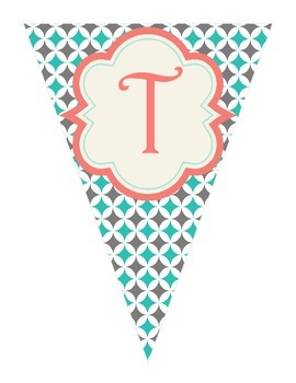 Shabby Chic (Teal, Gray & Coral) Writing Banner