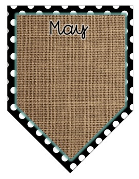 Shabby Chic Turquoise, Burlap and Black & White Dots Editable Birthday Display