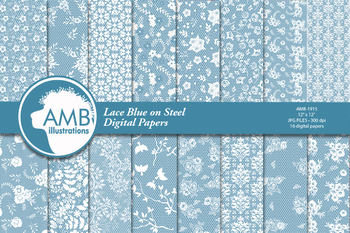 Shabby Chic blue lace Digital papers AMB-1915