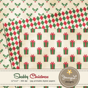 Shabby Christmas Digital Paper, Holiday papers