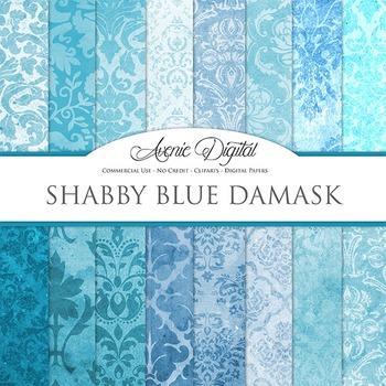 Shabby Damask Digital Paper turquoise blue patterns scrapbook grungy background