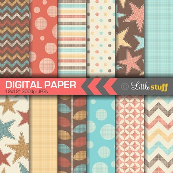 Shabby Digital Paper, Stars, Stripes, Dots, Chevrons Paper Pack