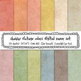 Shabby Grunge Texture Digital Paper Set, Solid Pastel Colors Backgrounds