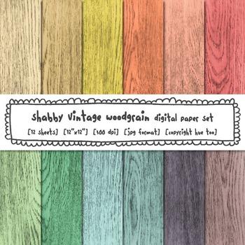 Shabby Pastel Woodgrain Digital Paper, Rustic Wood Digital