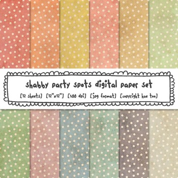 Shabby Polka Dots Digital Backgrounds, Grunge Pastel Colors Digital Paper
