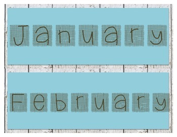 Shabby Rustic Burlap Themed Calendar Months