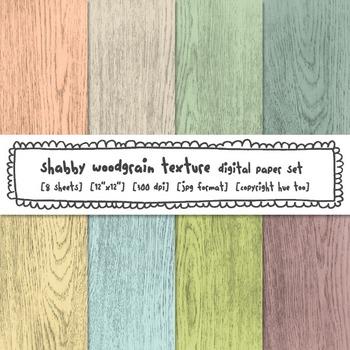 Shabby Woodgrain Digital Backgrounds, Rustic Wood Digital Paper for TpT Sellers