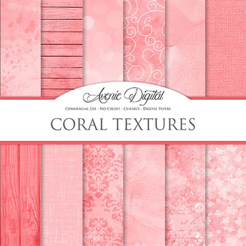 Shabby chic Coral Textures Background Digital Paper grunge scrapbook red pink