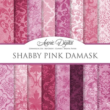 Shabby chic Damask Digital Paper Pink patterns scrapbook grungy background
