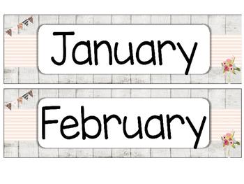 Shabby-chic Theme Calendar Set EDITABLE