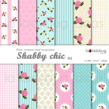 Shabby chic Wallpapers. Floral pink and beige digital papers.
