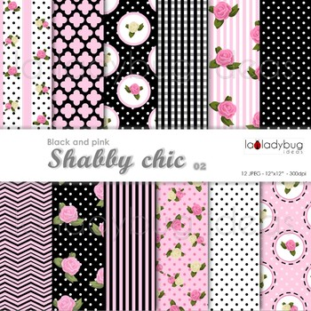 Shabby chic Wallpapers. Floral pink and black digital pape