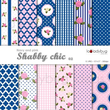 Shabby chic Wallpapers. Floral pink and navy digital papers.