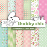 Shabby chic digital paper Pink and blue pattern Shabby chic background