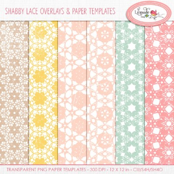 Shabby lace overlays papers templates