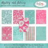 Shabby pink and blue cards 3.5 x 2.5 inch task card backgrounds