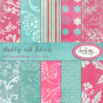 Shabby pink and blue digital scrapbook papers and backgrounds
