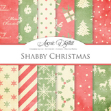 Shabby red and green Christmas Digital Paper