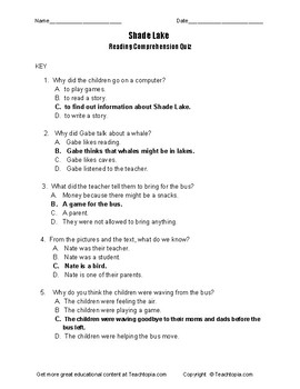 Shade Lake Benchmark Advance Reading Comprehension Quiz  first grade