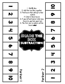 Shade the Box-Subtraction Game
