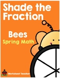 Shade the Fraction Bees Spring Math Worksheets