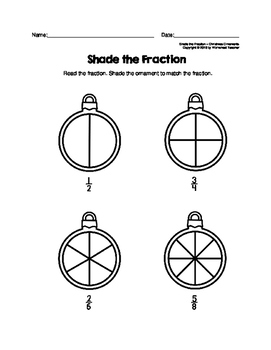 Shade the Fraction Christmas Ornaments Worksheets