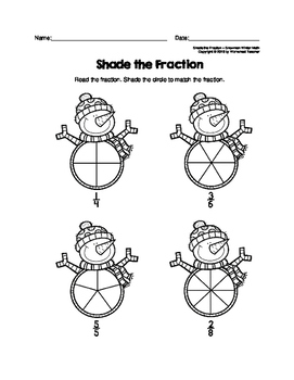 Shade the Fraction Snowman Winter Math Worksheets