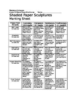 Shaded Paper Sculpture Marking Sheet