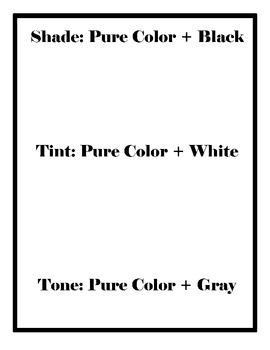 Shades, Tones, Tints Worksheets