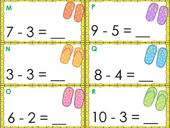 Shades and Flip Flops- Addition and Subtraction Scoot