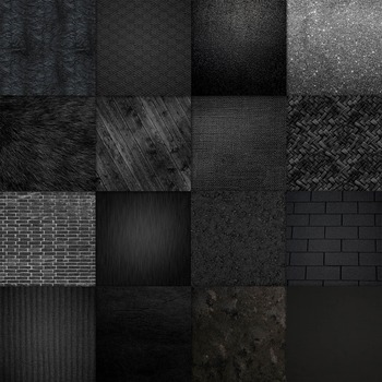 Shades of Black Digital Paper Pack - 16 Different Papers - 12inx12in