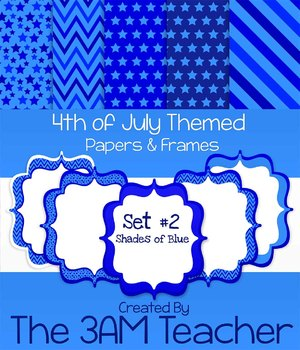 Shades of Blue: 4th of July Themed Digital Papers and Frames Clip Art