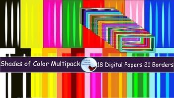 Shades of Color Digital Papers Backgrounds Transparent Borders Frames Mega Pack