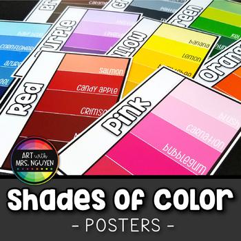 Descriptive Shades of Color Art Posters (Paint Swatch Design)