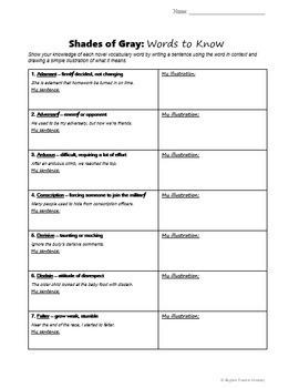 Shades of Gray Vocabulary (Plus Worksheet)