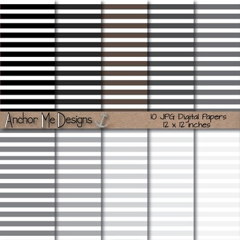 Shades of Gray Thin Striped Digital Paper for TPT Product Covers & More