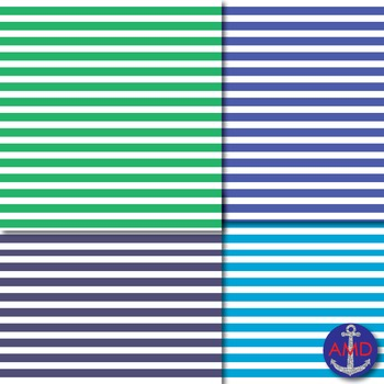 Shades of Green & Blue Thin Striped Digital Paper for TPT Product Covers & More
