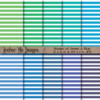 Shades of Green & Blue Thin Striped Digital Paper for TPT