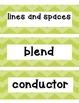 Shades of Green Chevron Music Word Wall