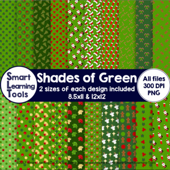 Shades of Green Christmas Digital Papers