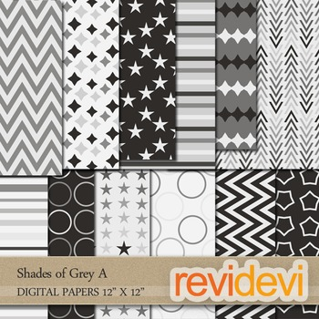 Shades of Grey A - Digital patterned papers for background