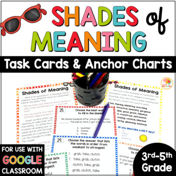 Shades of Meaning Adjectives: Task Cards and Anchor Charts Activities
