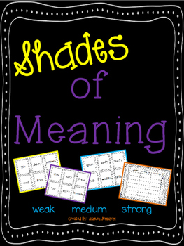 Shades of Meaning Adjective and Related Verbs Synonyms Activity