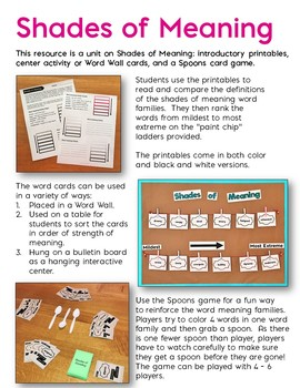 Shades of Meaning Bundle: Printables, Word Wall Center, & Spoons Game