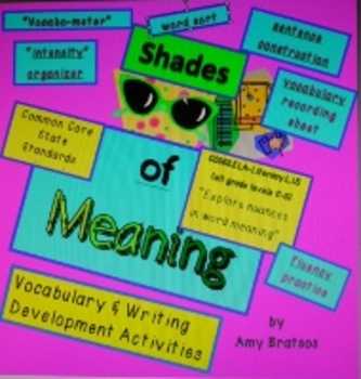 Shades of Meaning CCSS Aligned Vocabulary & Critical Thinking Activities