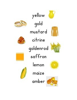 Shades of Meaning- Color Synonyms Posters